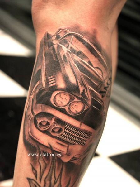 Classic Black And Grey Car Tattoo On Leg By V Tattoos