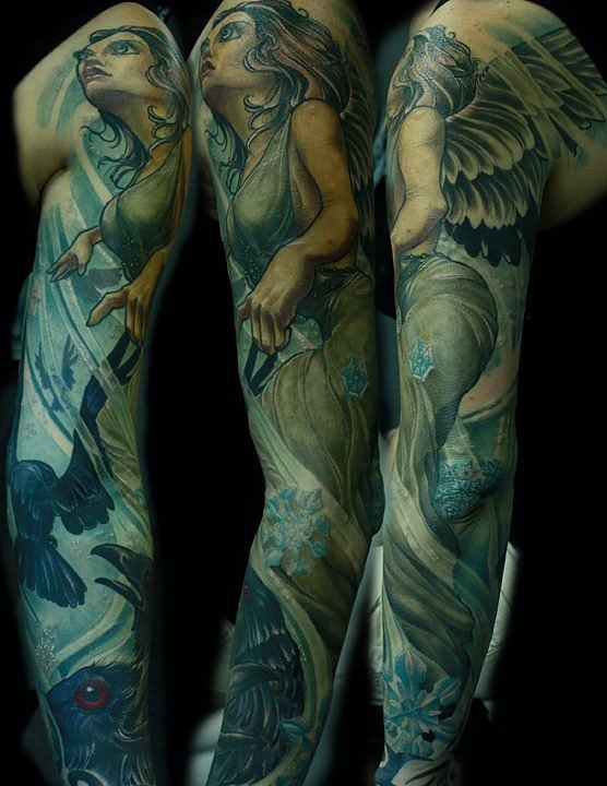 f605ad497ed85 Colored Angel And Raven Tattoo On Sleeve