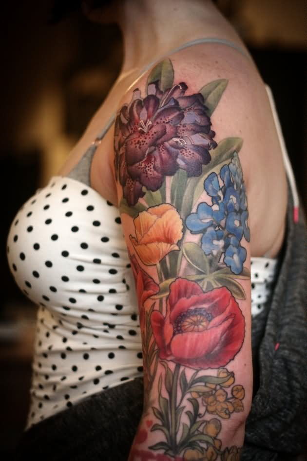 dia de los muertos girl face with flowers tattoo on right half sleeve. Black Bedroom Furniture Sets. Home Design Ideas