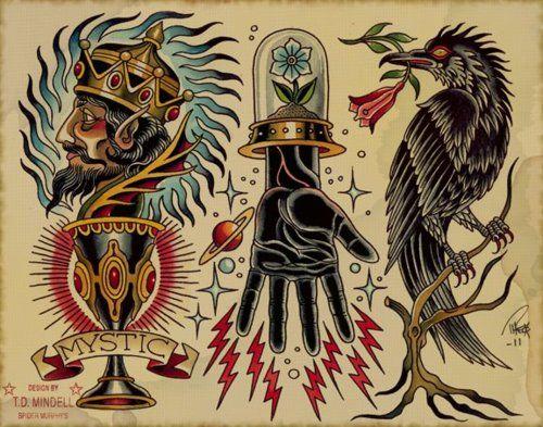 Traditional Raven Head Tattoo