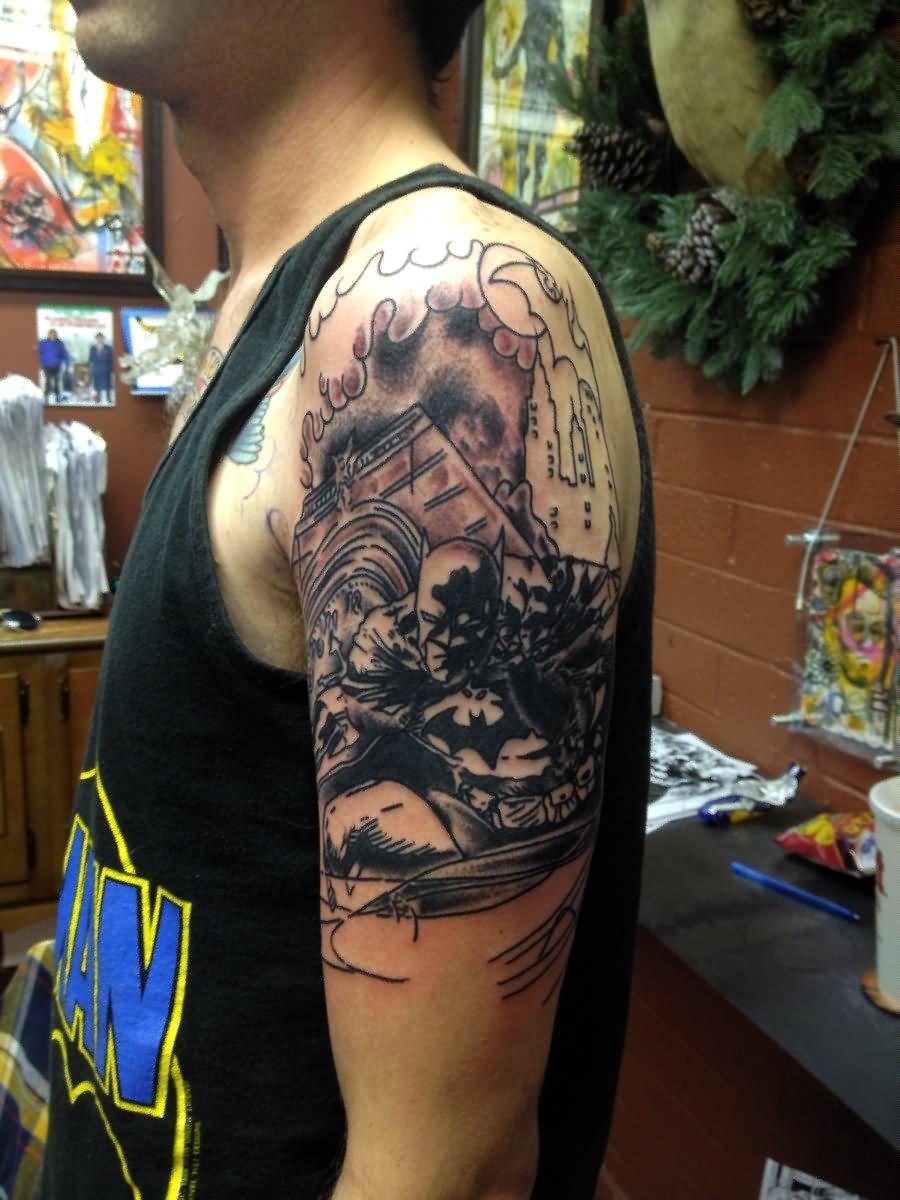38 batman joker tattoos for Batman sleeve tattoo