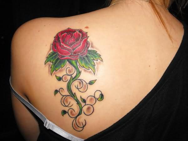 13 beautiful feminine back shoulder tattoos for Rose tattoo on back shoulder