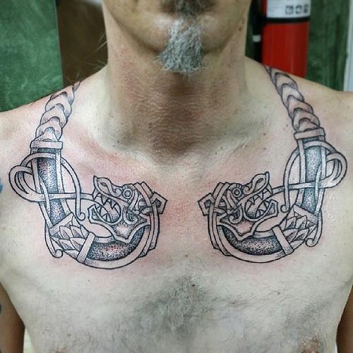 Angry geri and freki wolves tattoos design for Norwegian flower tattoo