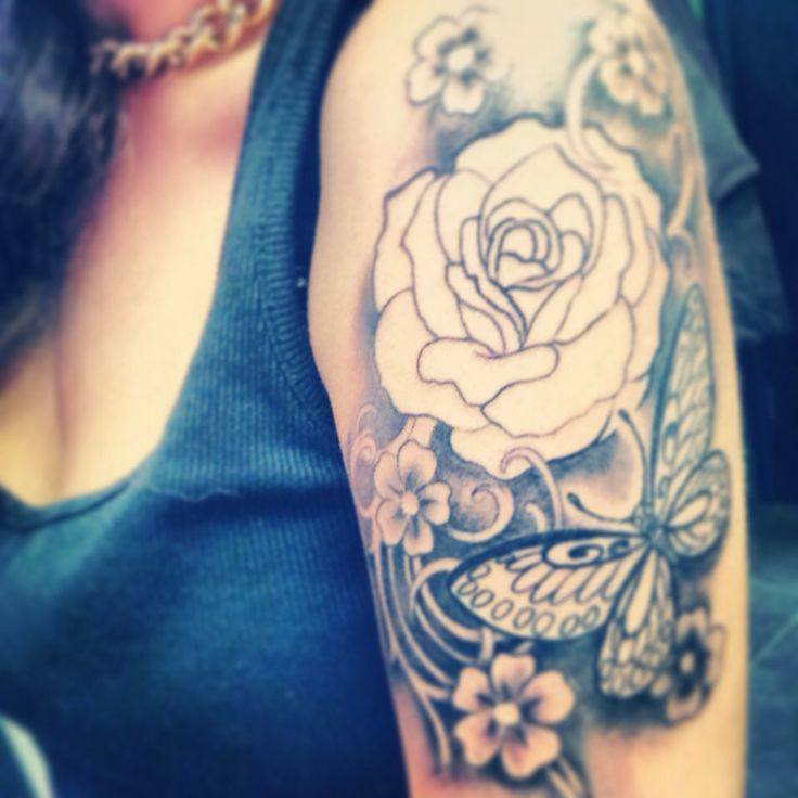 24 best feminine sleeve tattoos for Butterfly tattoo arm designs