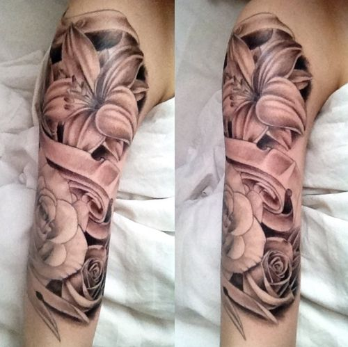 24 best feminine sleeve tattoos. Black Bedroom Furniture Sets. Home Design Ideas