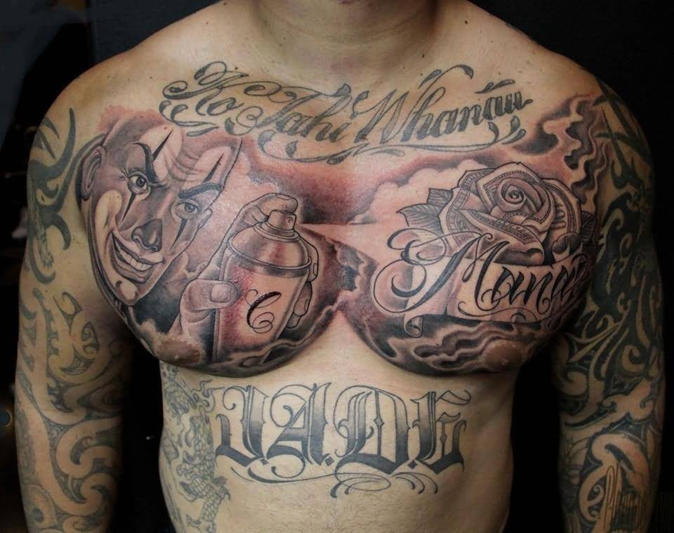 Grey Rose Flower And Joker Tattoo On Man Chest