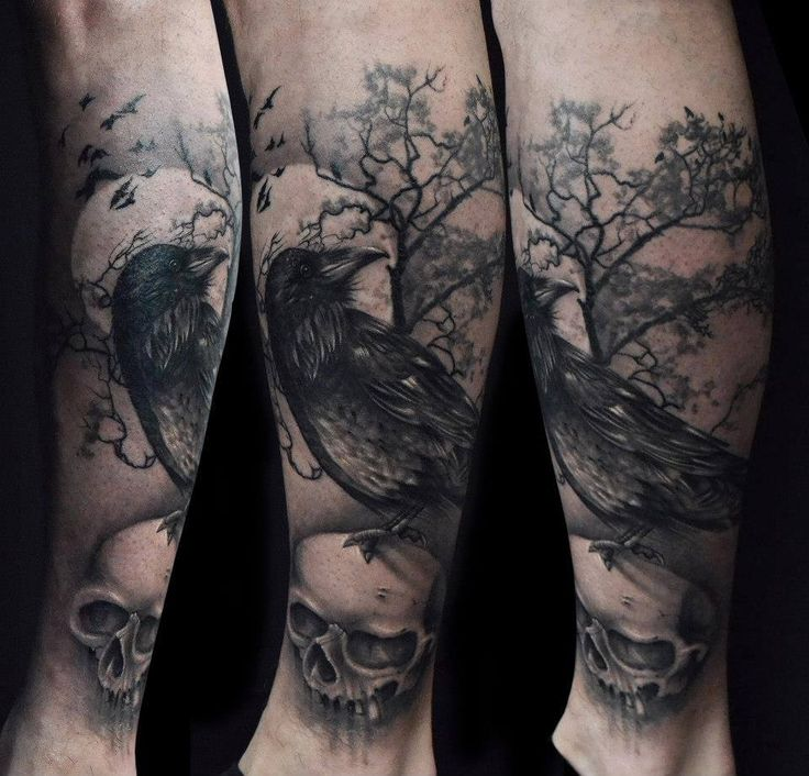 8a0cba342c5c8 Grey Skull And Raven Tattoo Sleeve