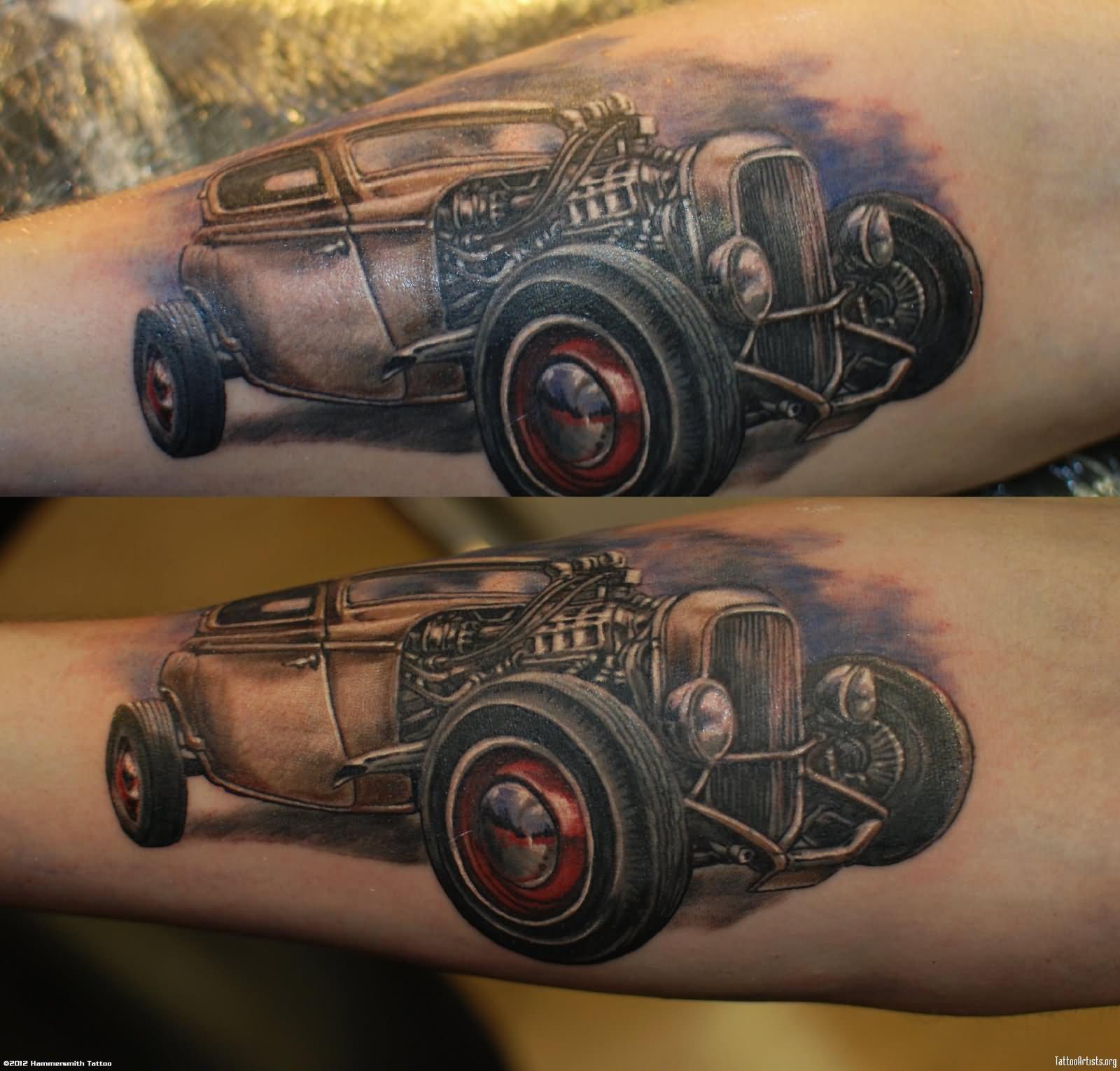 11 car tattoos on forearm for Hot rod tattoos
