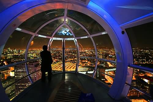 Inside London Eye Capsule Night Picture