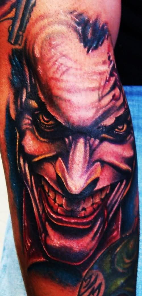 Laughing Joker Tattoo On Arm Sleeve