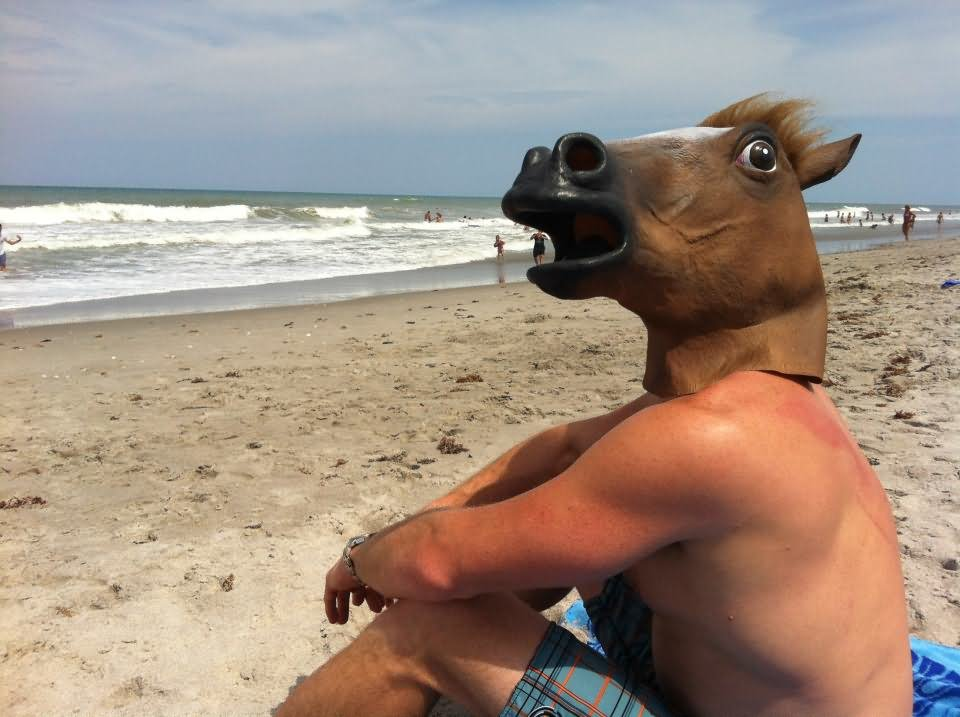 Man On Bitch With Horse Face Funny Picture