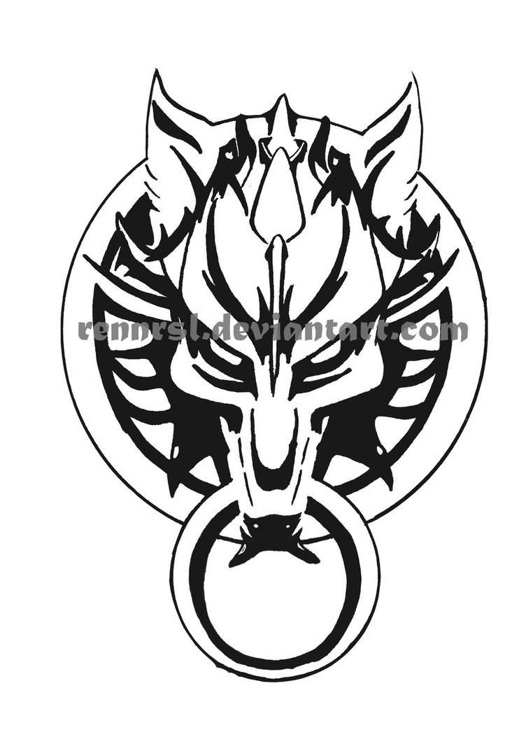 Nice Fenrir Tattoo Design by Rennrsl