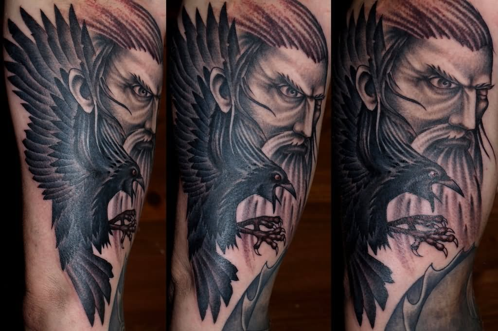 6548838f 35+ Odin's Raven Tattoo Designs, Images And Pictures