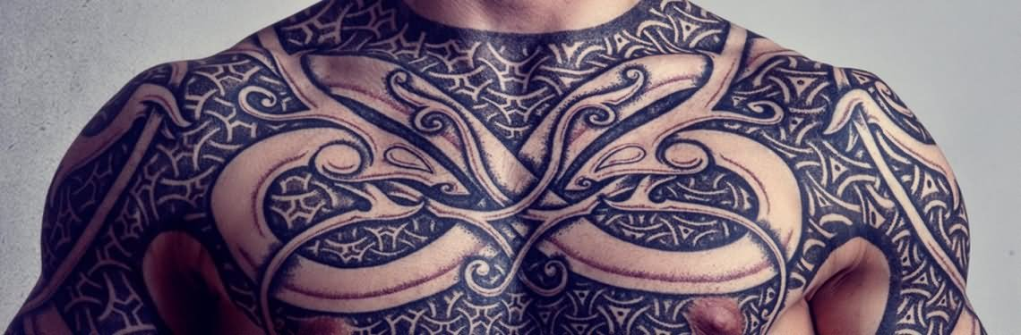scandinavian tattoo on chest for men. Black Bedroom Furniture Sets. Home Design Ideas