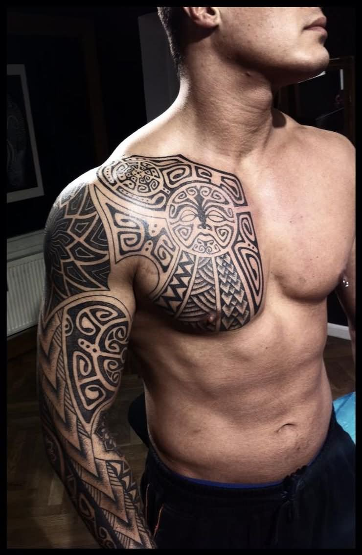 Viking tattoo on sleeve and chest by peter walrus madsen for Viking tattoo sleeves