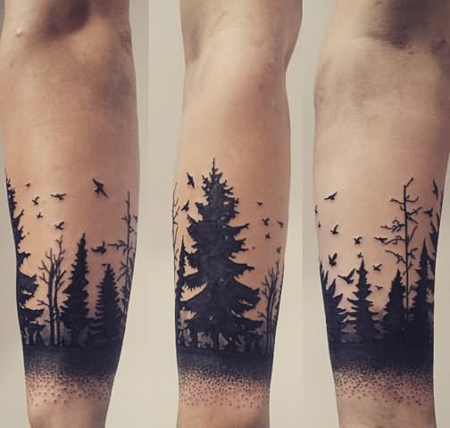 32 unique silhouette tattoos for Tree tattoo on forearm