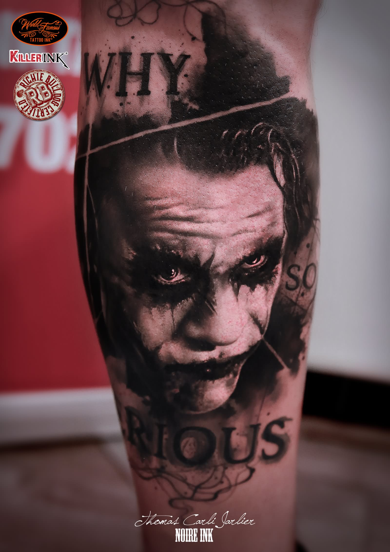 why so serious joker tattoo on forearm by thomas carli jarlier. Black Bedroom Furniture Sets. Home Design Ideas