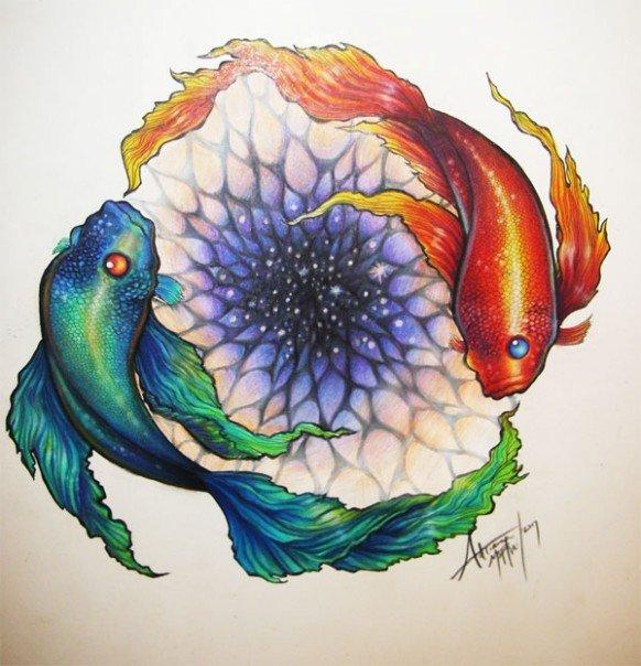 Watercolor Yin Yang Tattoo Design