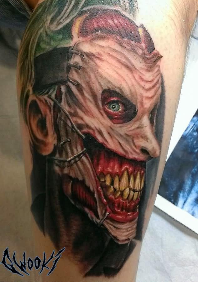 Zombie Joker Face Tattoo On Leg By Gwooki