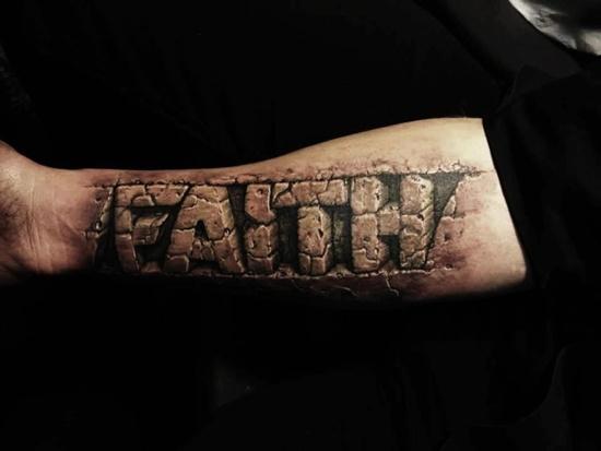 d9ad2051c 3D Faith Word Tattoo On Man Forearm