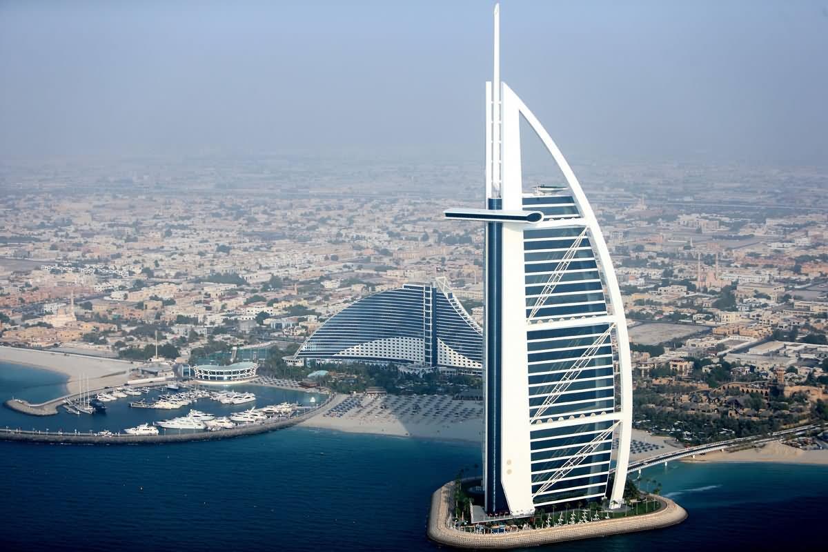 Aerial view of the burj al arab for Burj ul arab