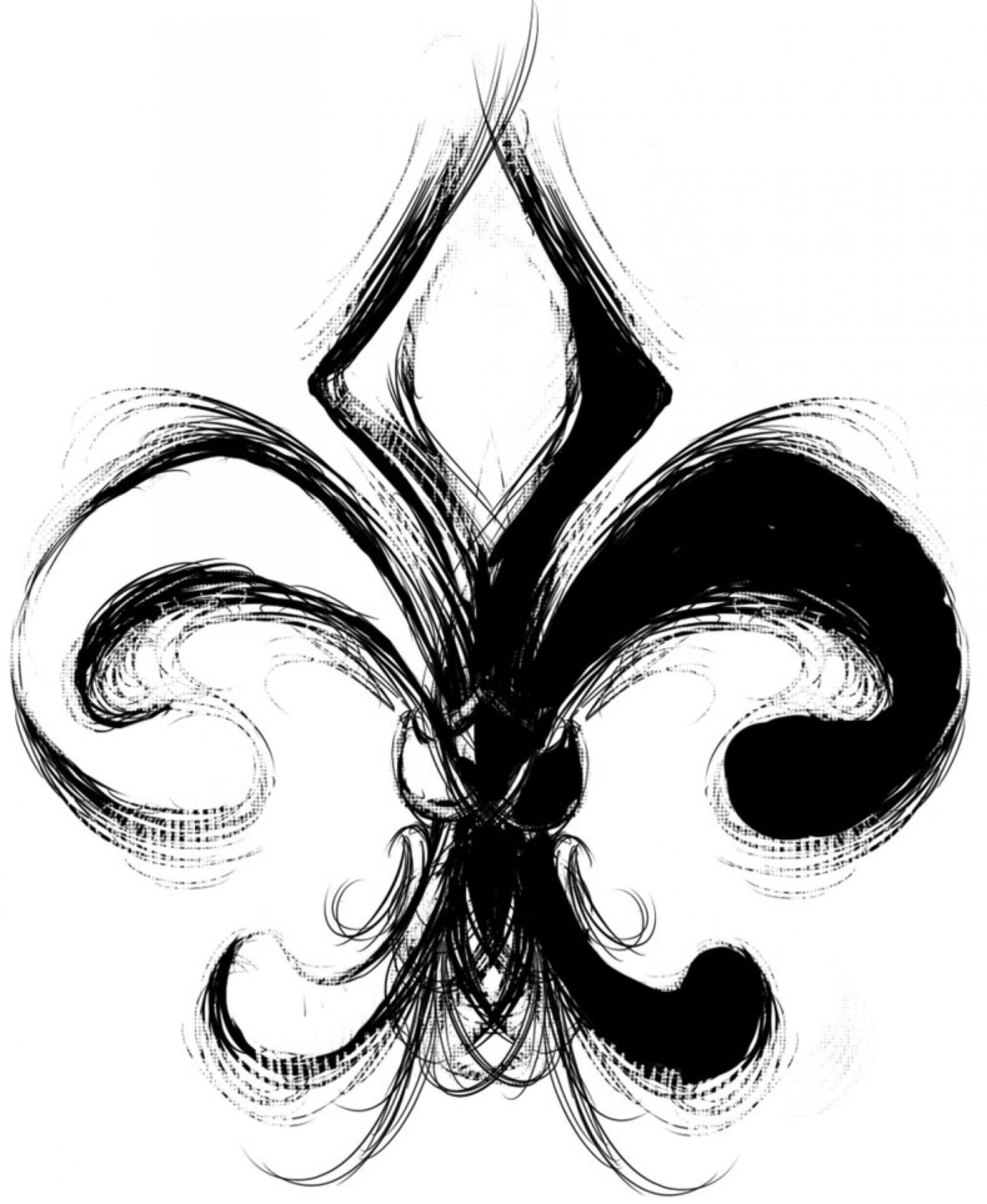black and white fleur de lis tattoo design. Black Bedroom Furniture Sets. Home Design Ideas