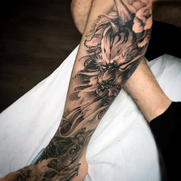 24 Black And White Leg Tattoos