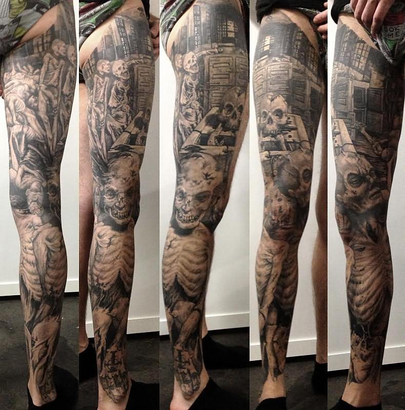 24 black and white leg tattoos for Thigh sleeve tattoo