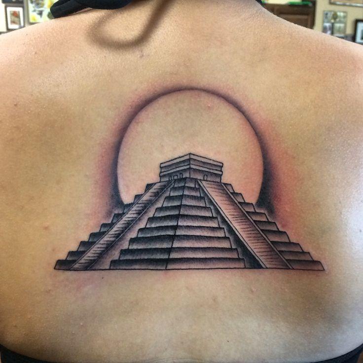 black ink mayan pyramid tattoo design for upper back. Black Bedroom Furniture Sets. Home Design Ideas