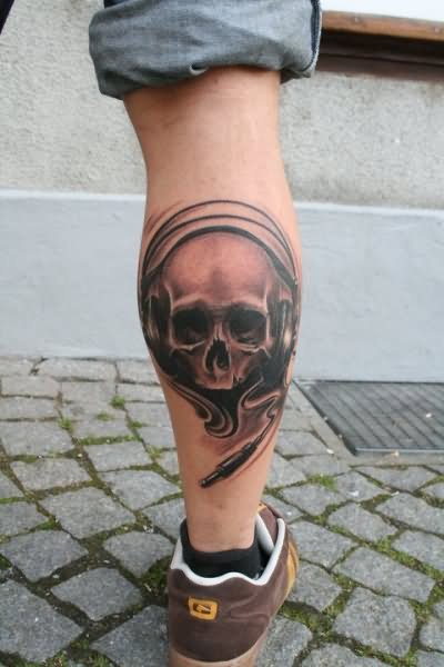 Grey ink skull tattoo on leg calf by schrail edmund for Skull leg tattoos