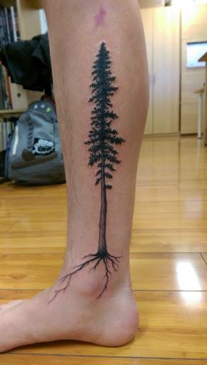 32 nice tree tattoos on leg. Black Bedroom Furniture Sets. Home Design Ideas