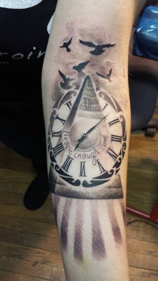 Classic Pyramid Clock Tattoo On Forearm