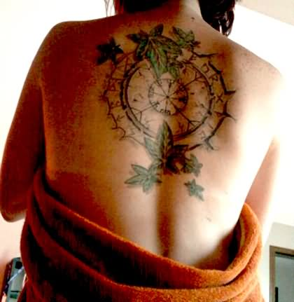 3ec3feb0d Clock With Ivy Leaves Tattoo On Upper Back By Caroline