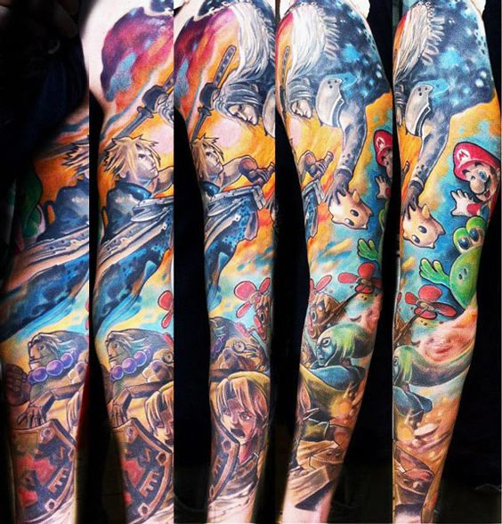 17 video game tattoos ideas for sleeve. Black Bedroom Furniture Sets. Home Design Ideas
