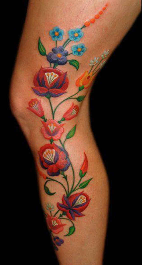 40 amazing flower leg tattoos. Black Bedroom Furniture Sets. Home Design Ideas