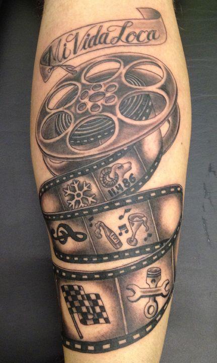film strip cinema tattoo on leg rh askideas com Film Tattoo Ideas film strip tattoo