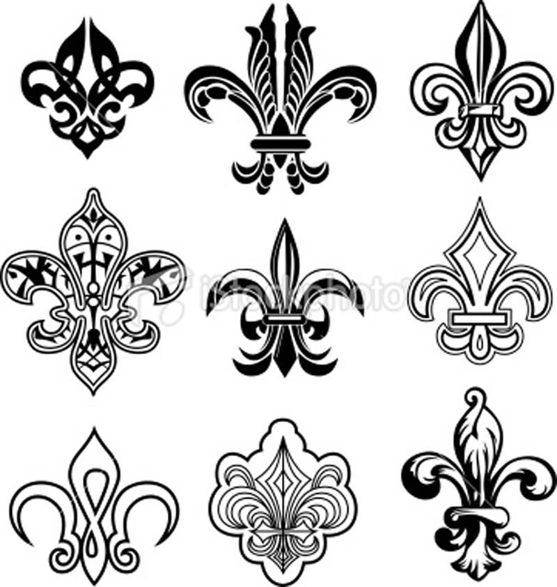 fleur de lis tattoo designs and ideas. Black Bedroom Furniture Sets. Home Design Ideas
