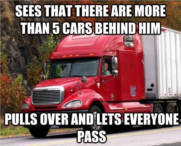 Funny Truck Meme Sees That There Are More Than 5 Cars Behind Him Image