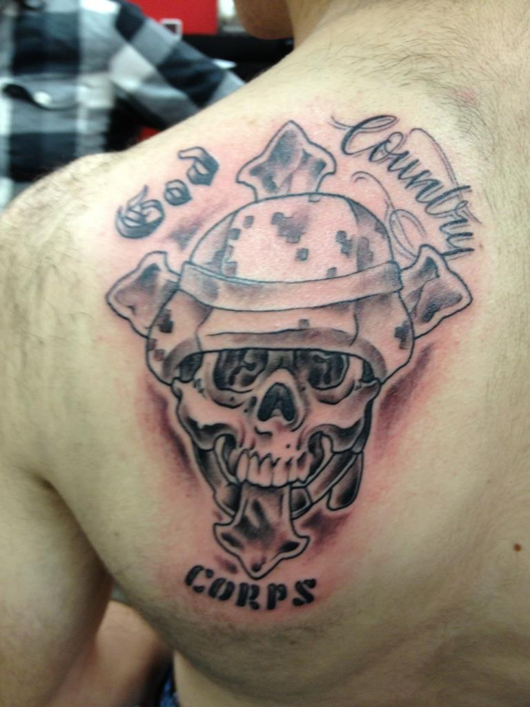 God Country Tattoo On Left Back Shoulder
