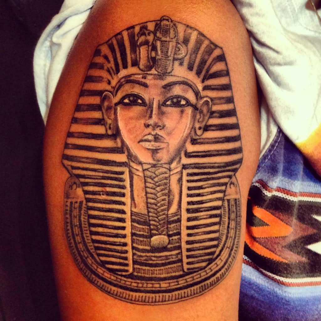 5dc18ddba Grey And Black Egyptian Tattoo On Shoulder