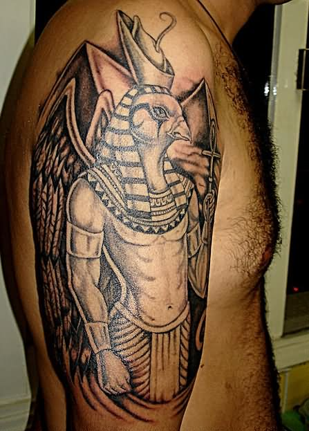 3d egyptian tattoo on half sleeve by rich pineda. Black Bedroom Furniture Sets. Home Design Ideas
