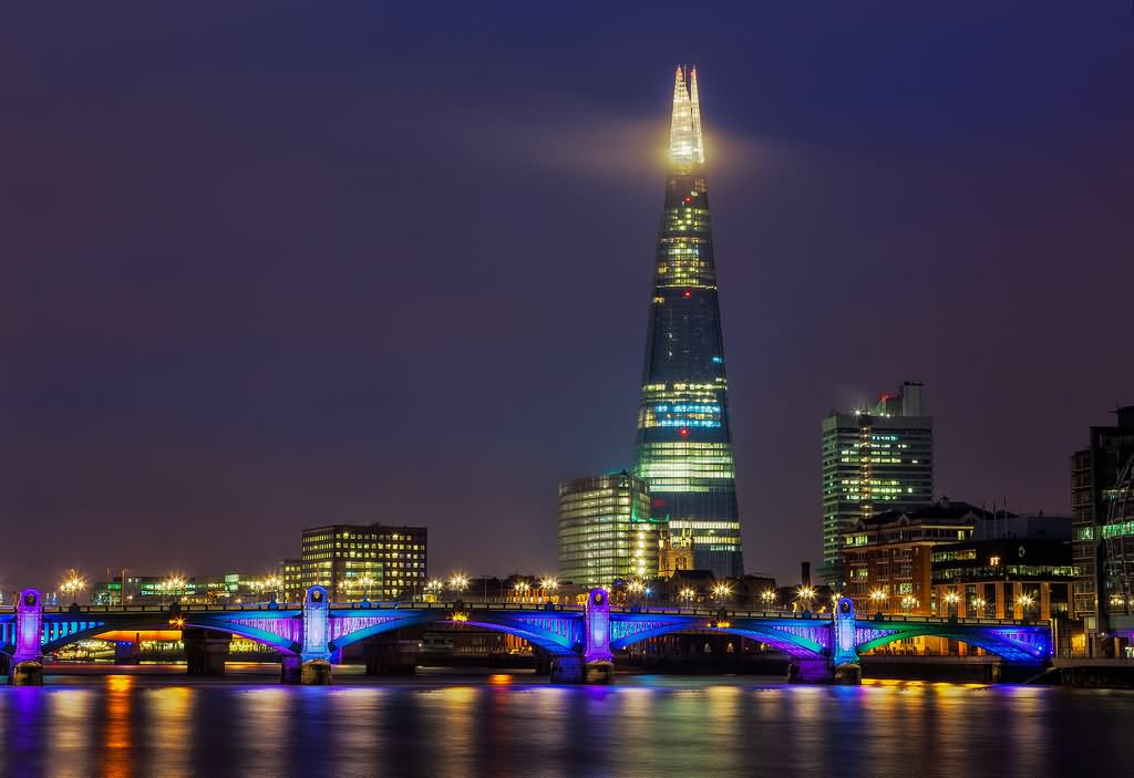 Incredible Night View Of The Shard In London