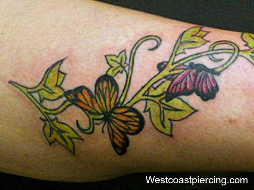 af9b066a5a91a Ivy Vine With Butterflies Tattoo Design For Leg