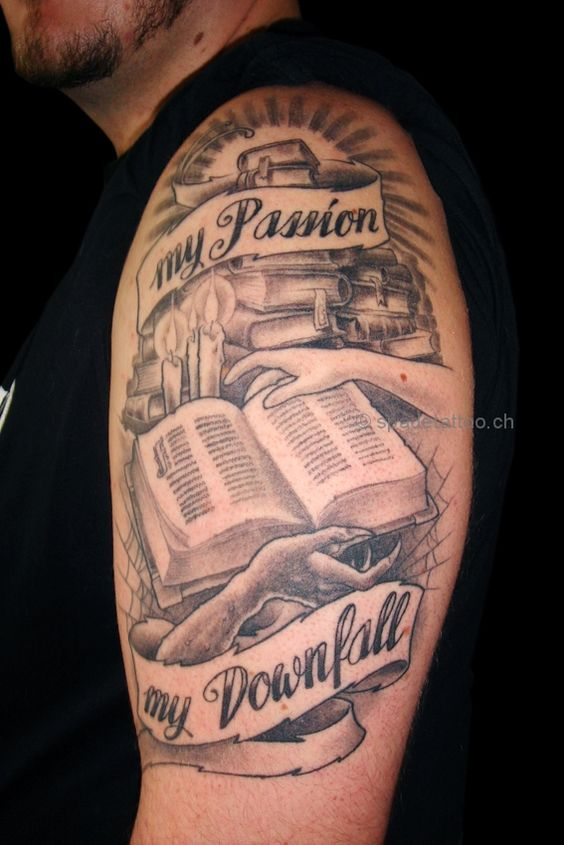 eec07fb9d Literary Book With Banner Tattoo On Man Left Half Sleeve