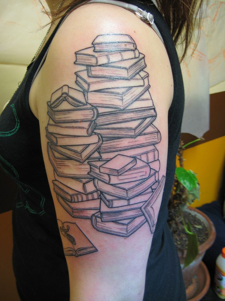Literary books tattoo on girl left half sleeve for Tattoo girl book