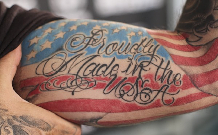 Proudly made in the usa country tattoo on inner bicep for Country tattoo ideas