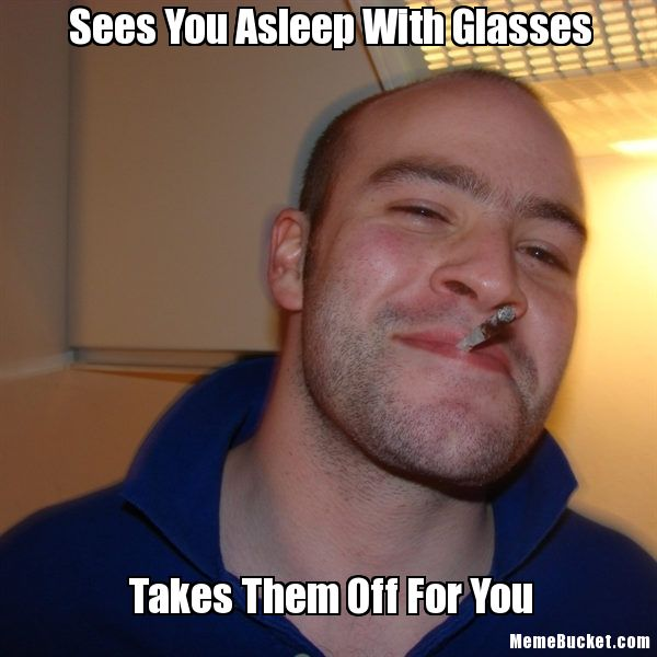 Sees You Asleep With Glasses Funny Meme Image