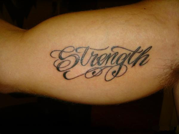 Strength Word Tattoo Design For Men Bicep