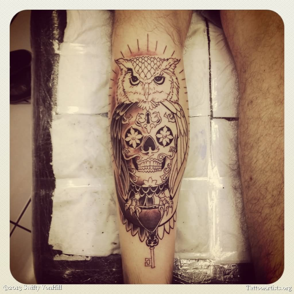 16 awesome leg calf tattoos for Skull leg tattoos