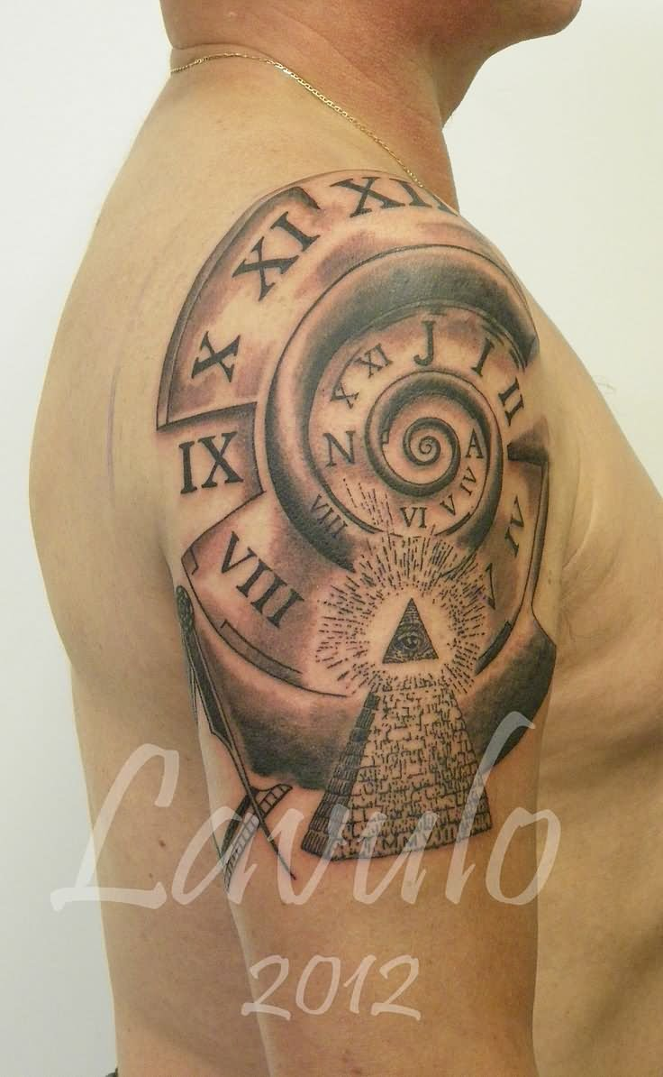27 fantastic pyramid tattoos on sleeve for Eye with clock tattoo